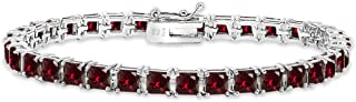 Sterling Silver Genuine, Created or Simulated Gemstone 4mm Princess-Cut Square Classic Tennis Bracelet