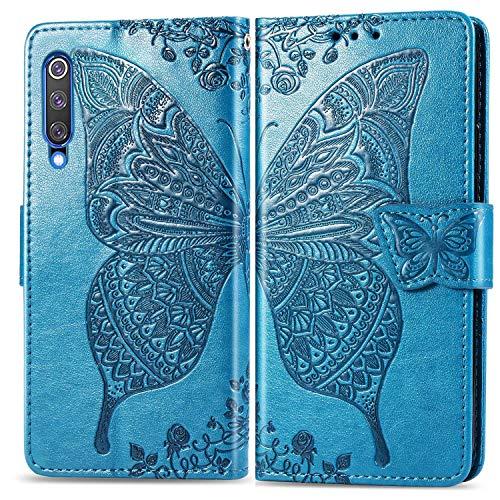 Bravoday Handyhülle für Xiaomi MI 9 SE Hülle, Stoßfest PU Leder Tasche Flip Hülle Schutzhülle für Xiaomi MI 9 SE, mit Kartenfäch und Kickstand, Blau