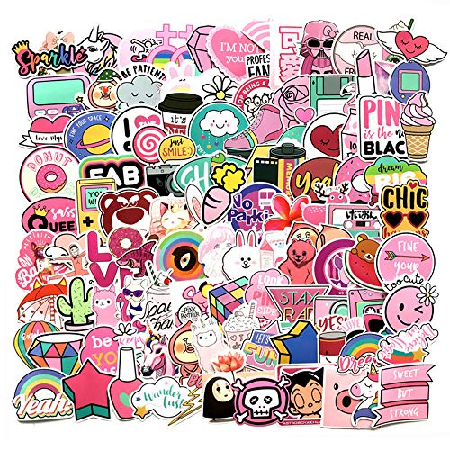 IUGGAN Stickers for Water Bottles 110-Pack,Cute Pink Teen Girl Decal Waterproof,Aesthetic,Trendy Stickers for hydroflasks,Laptop,Computer,Travel Extra Durable 100% Vinyl Kids Decals (Stickers)