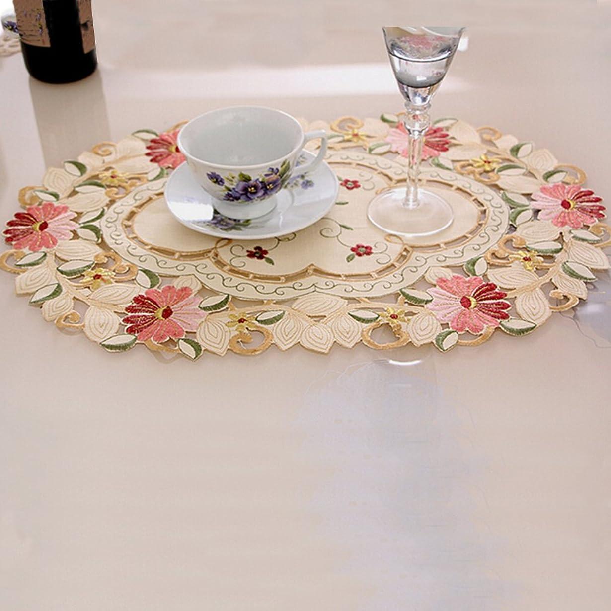 ボット幻滅舞い上がるファッションホーム- ランチョンマット カントリー ナチュラルな雰囲気へ 花の刺繍 透かし彫り 花瓶敷き ドイリー プレースマット 楕円