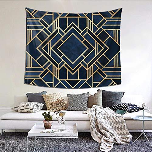 Tapiz de pared Art Deco de lujo azul de 51 x 160 pulgadas, tapiz para colgar en la pared para sala de estar, dormitorio, cortina de picnic