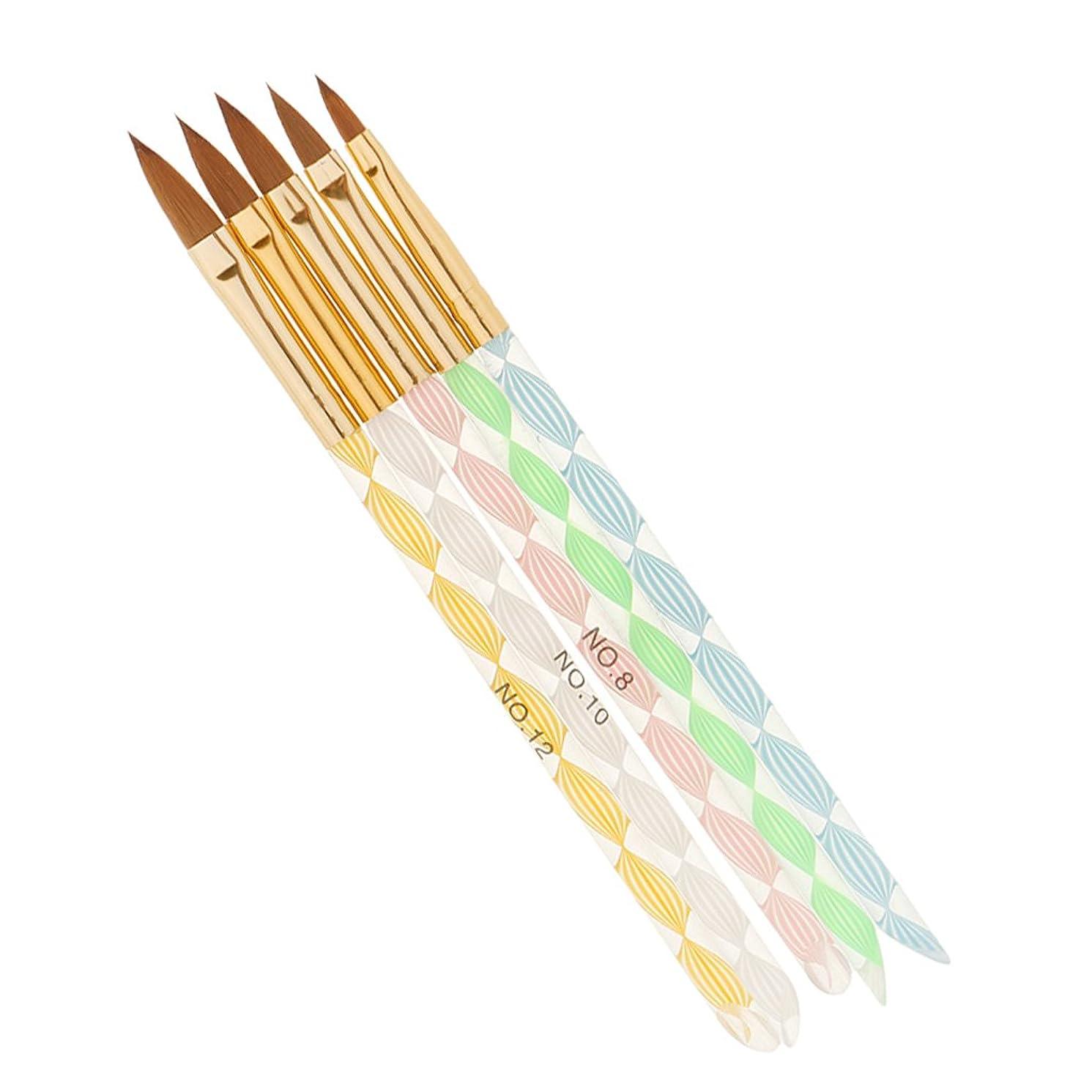 住居ケープ増強Perfk 5本 ネイルアート デザイン ブラシキット マニキュアツール 絵画 描画 磨き ブラシ