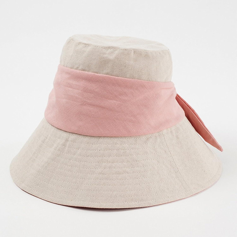WYGGhat Summer Hat, Sun Hat Women Adjustable Cap Circumference Cotton Linen Floppy Foldable Packable Travel, 3 colors Optional  & (color   Pink)
