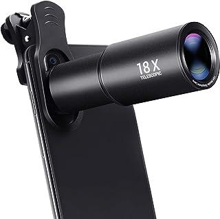 Lente de Cámara para Móvile 18X Zoom Teleobjetivo de Aluminio Objetivo HD de Teléfono para iPhone Samsung Android Smartphone Telescopio Monocular