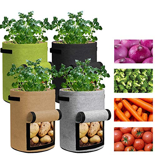 Grow Bags 3 Gallon - 4 Pack Potato Grow Bags Two SidesVelcro Window Vegetable Grow Bags, Double Layer Premium Breathable Nonwoven Cloth for Potato/Plant Container/Aeration Fabric Pots with Handles