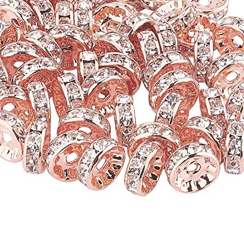 PandaHall Acerca de 50 cuentas espaciadoras redondas de oro rosa de 10 mm de cristal Rondelle transparente checo para hacer joyas.