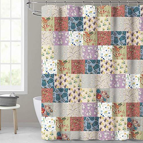 Tenda da doccia Bagno Impermeabile Poliestere Stampa 3D Tartan Fiore Tende da Mare bagno doccia