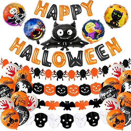 MIAHART Halloween Party Decoration Set Happy Halloween Banner con 5 Piezas Spider, Bat, Pumpkin Ghost Foil Balloon 4 Pack Garland de Halloween y 18 Piezas Globo de látex