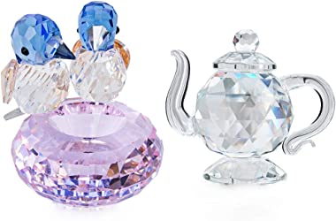 H&D HYALINE & DORA Set 2 Crystal Cut Bird of Happiness & Crystal Teapot Collectible Figurines Table Home Decorati