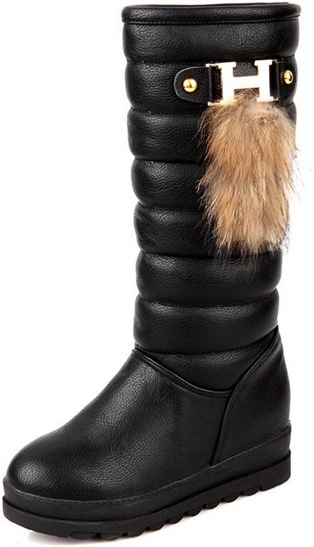 BalaMasa Womens Low Heels High Top Solid Black PU Snow Boots - 4.5 B(M) US