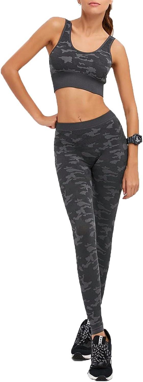 KiXaGg Women Fitness Camouflage Print Bra+Pants Leggings Set Slim