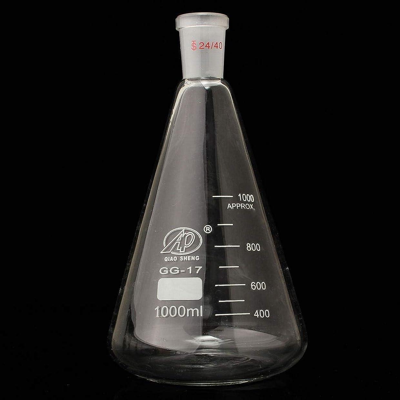 実装する快いインレイ玻璃器皿, 1000mL 24/40ケミカルグラウンドジョイントコニカルボトルラボラトリーガラス製品ガラス三角フラスコ卒業 実験装置