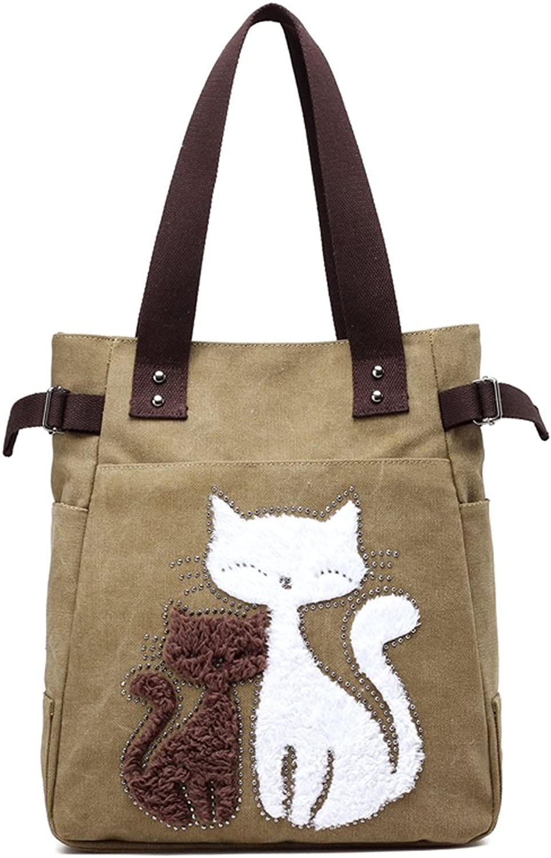 Hiigoo Casual Handbag Canvas Shoulder Bags Cat Tote Environmental Shopping Bag Trendy Totes
