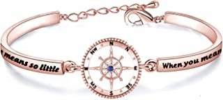 WUSUANED Best Friend Gift Distance Means So Little When You Means So Much Compass Bracelet Long Distance Relationship Jewe...