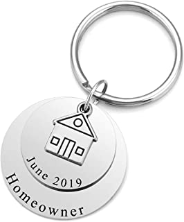 PiercingJ Personalized Engraved Custom Name Home Keychain Stainless Steel 3 Layer Key Ring Buying First Home Housewarming Realtor Closing Gift House Keyring Jewelry