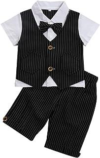 G-Kids Baby Jungen 2-teiliges Strampler Smoking Gentleman Anzug Kurzarm Streifen Outfits Sommer Kleidung Jumpsuit Spielanzug Taufkleidung mit Fliege