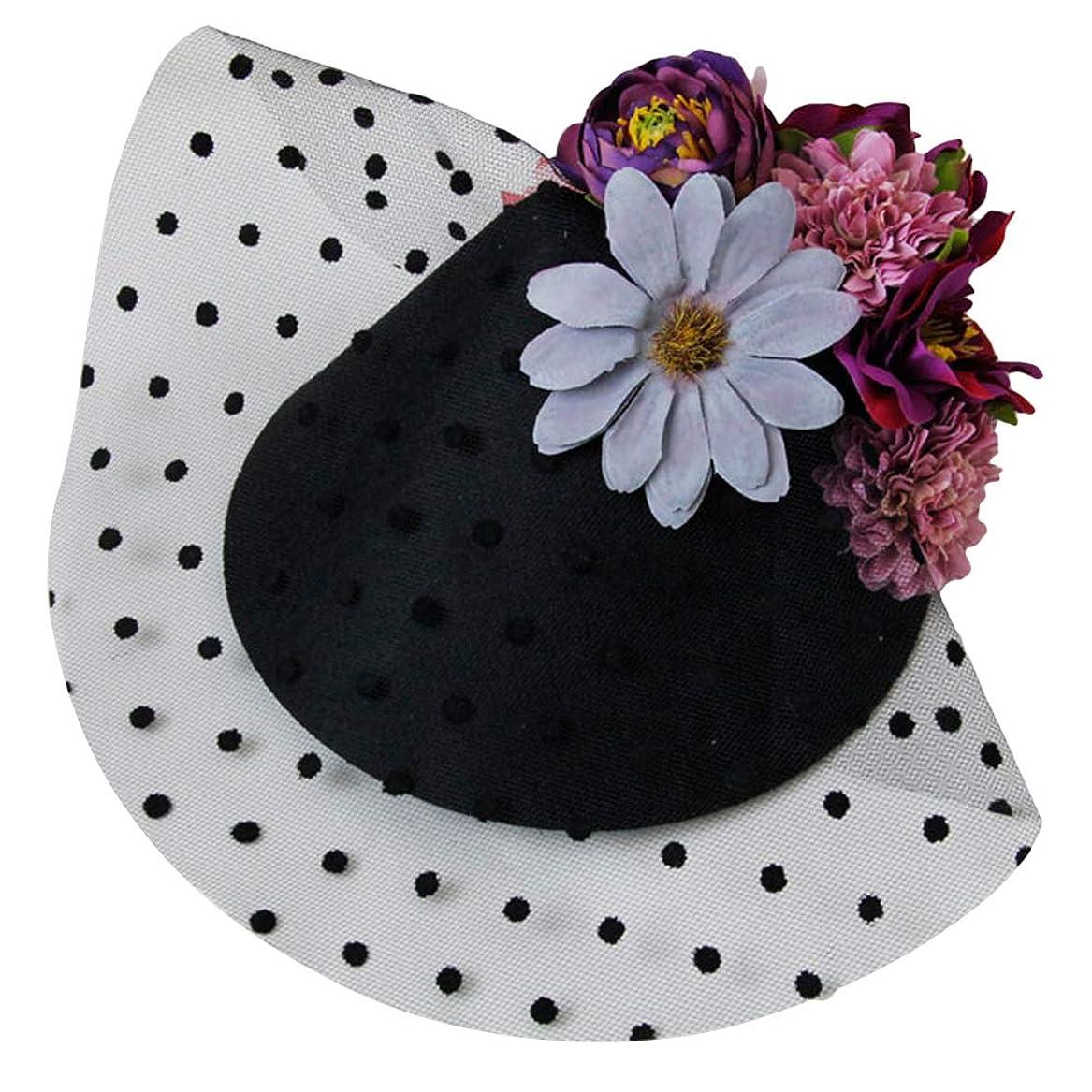 符号メニュー敵Lurrose 魅惑的な帽子ヘアピンフラワーシースターガーゼバレッタヘッドドレス