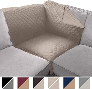 Sofa Shield Original Patent Pending Sectional Corner, 30 Inchx30 Inch Slipcover, 2 Inch Strap Hook, Washable Furniture Protector, Slip Cover for Cats, Dogs, Kids, Sectional Corner, Lt Taupe Lt Taupe