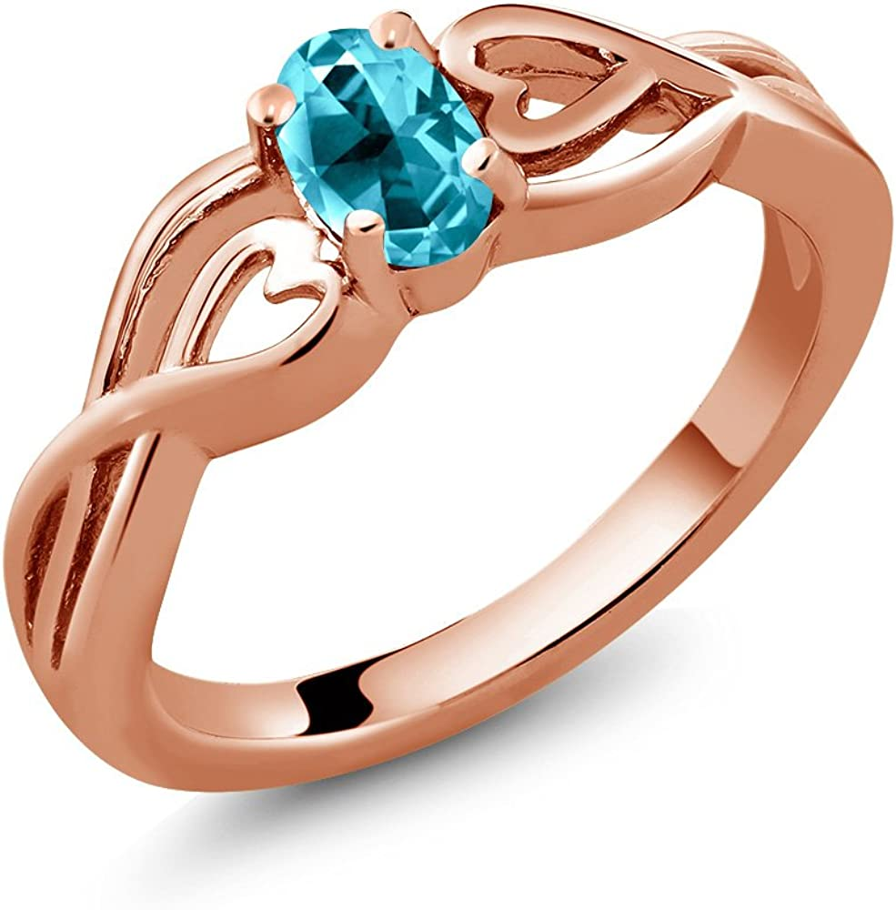 Gem Stone King 18K Max 57% OFF Rose Gold Set Silver Solitaire wi Ring Free shipping anywhere in the nation Plated
