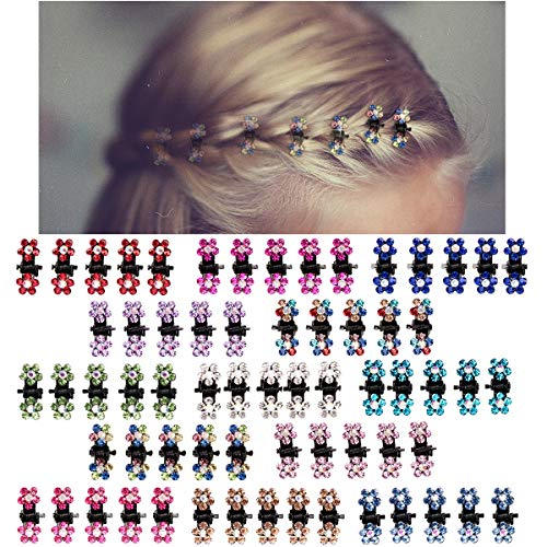 ANBALA Hair Claw Clips, 65pcs Mini Hair Clips No-Slip Grip Jaw Clips Glitter Teeth Clips Rhinestone Hair Clips Metal Clamps Mix Colored Flower Hair Accessories for Women Girls