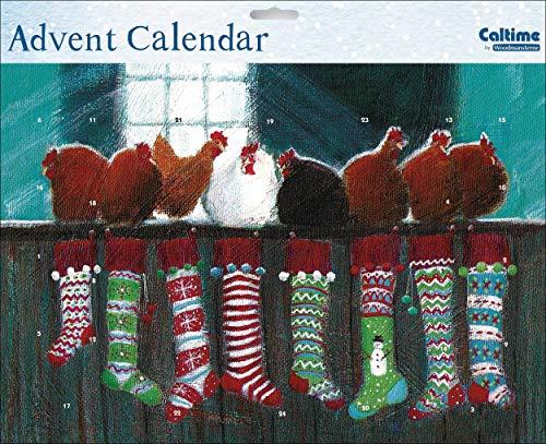Caltime Traditionele Kerst Hopes Kippen Adventskalender 35 cm x 24,5 cm Glitter Gelakt met Witte Envelop