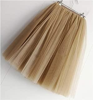 7 Layers Knee Length Tulle Skirt Tutu Women Skirt High Waist Pleated Skirt