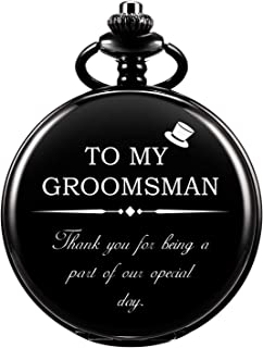 Engraved Pocket Watches, Customize Gift for Groomsman, Roman Numerals Cover Dial Quartz Personalized Gift for Groomsman Wedding Gift