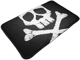 HUTTGIGH Alfombrilla antideslizante para puerta de entrada, diseño de capitán Harlock, diseño de calavera y huesos de cru...