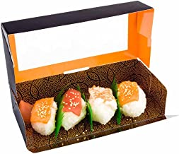 Sushi Box, Sushi To Go Box, Sushi Take Out Container with Window - Black - 8