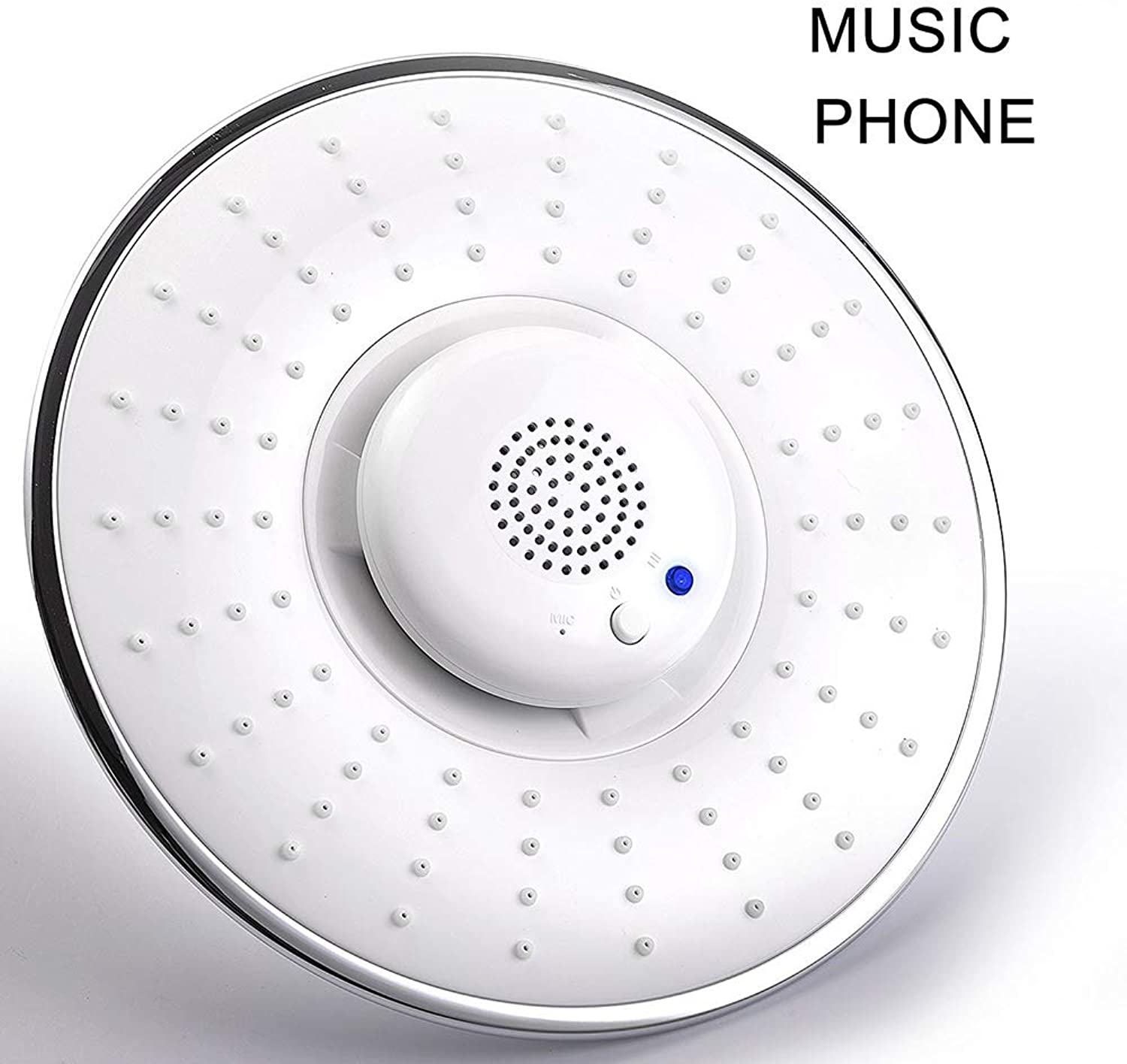 HDLWIS Music phone shower head, Creative home music shower top shower head, Built-in Waterproof blueetooth for calling, white