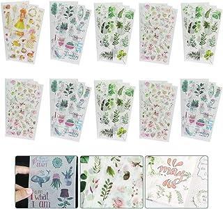 GOLRISEN 30 PCS Feuilles Autocollants Stickers Motifs Fleurs Animaux Autocollants Scrapbooking en Washi Papier Stickers Bu...