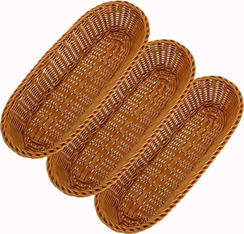 WUWEOT 3 Pack 13.7' Poly-Wicker Bread Basket, Long Woven Tabletop Food Serving Basket, Restaurant Serving/Display Baskets for Fruit Vegetables, Brown