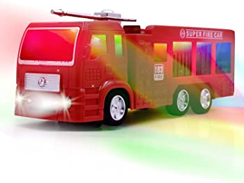 WolVol Electric Fire Truck Toy with Stunning 3D Lights and Sirens, goes Around and Changes Directions on Contact - Gr...