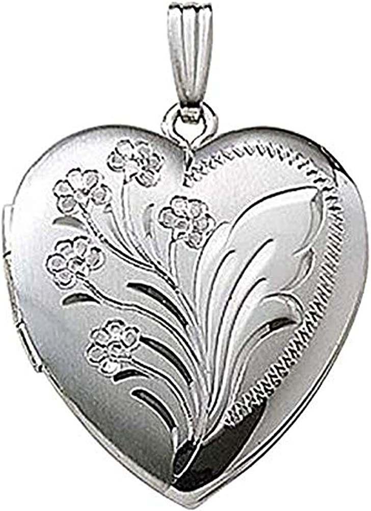 PicturesOnGold.com 14k White Gold Engraved Heart Locket - 1 Inch X 1 Inch Solid 14K White Gold with Engraving