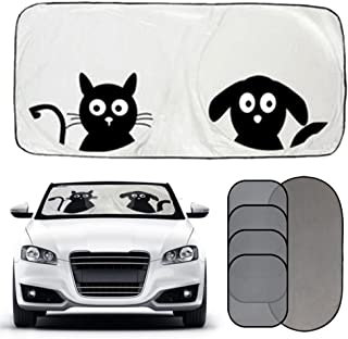 2win2buy Cartoon Car Windshield Sun Shade & Mesh [Set of 5] for Windows, Front Auto Windshield Sunshade Foldable UV Rays Sun Visor to Keep Your Vehicle Cool Protect Your Kids and Pets from Sun Glare