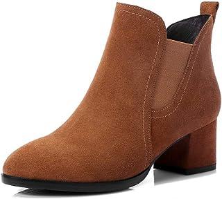 BalaMasa Womens Nubuck Solid Fabric Leather Boots ABM13551