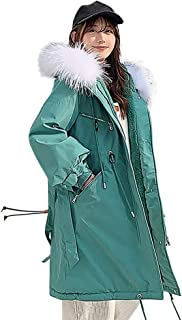 🍒 Spring Color 🍒 Womens Casual Solid Warm Outerwear Long Sleeve Faux Fur Hoodie Cotton-Padded Drawstring Jackets Coats