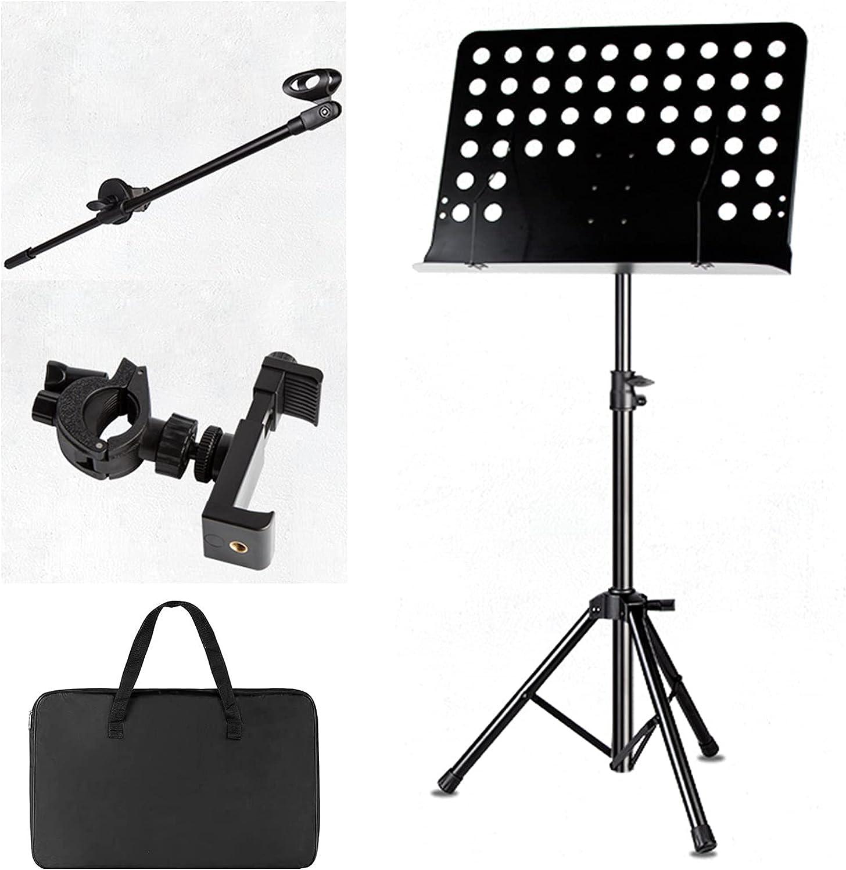 L-KCBTY Atril Soporte De Música Plegable Portátil, Soporte De Descanso para Tableta PC, con Soporte para Micrófono/Soporte para Teléfono Móvil, Altura/Ángulo Ajustable, para Guitarristas/Violín.