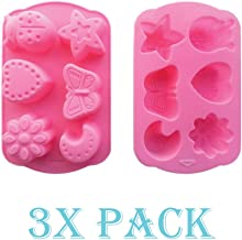 3 Pack of X Set Butterfly ladybug Moon Ice Cube Chocolate Soap Tray Mold Silicone Party maker (Ships From USA)