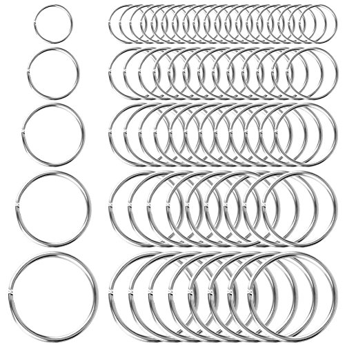 Selizo 200Pcs Split Key Rings Bulk for Keychain and Crafts (5 Size)