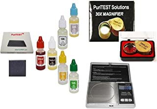 PuriTEST Jeweler's Full-Set Precious Metals Testing Kit Plus Jewelry Scale, Diamond Magnifyer and More!