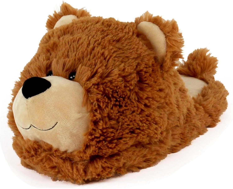 Fuzzy Bear Slippers - Plush Teddy Animal Slippers Brown