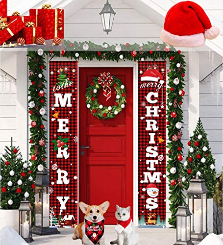 X-Helper Home Christmas Banner Decorations(2+1Pack)-Waterproof &Reusable Merry Christmas Banner-Holiday Christmas Decoration for Yard Indoor Outdoor Front Door Party,Give-Away a Christmas hat