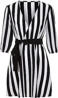 Sexy Stripe Mini Dress Women V Neck Striped Dress Summer Black White Striped Loose Beach Casual Dresses