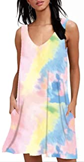 Abravo Mujer Vestido Camiseta Estampado Floral Manga Larga Vestido Casual Corto Playa con un Bolsillo (XXL, Z-Gradient 1)