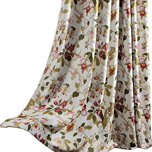 Anady Top Flower Curtain Blackout Bedroom Drapes 2 Panels Bird Design for Living Room Grommet 84 inch Length