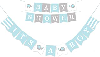 D-Seven It's A Boy Elephant Baby Shower Banner Paper Craft Set for Baby Boy Birthday Party and Photo Props or Room Decor (Blue-1)