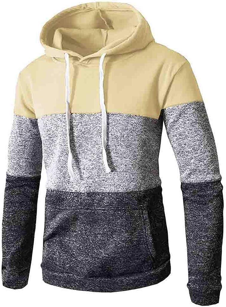Mens Casual Color Block Hoodie Slim Casual Long Sleeve Hipster Sweatshirt Kangaroo Pocket Pullover Sweatshirts Outwear
