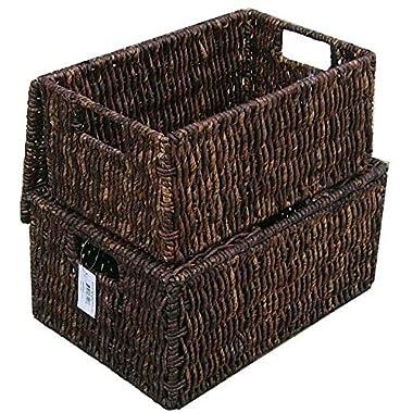 Woven Grass Rectangular Lidded Storage Baskets (Set of 2)