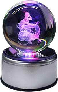 3D K9 Inspired Laser Engraved Crystal Ball LED Night Light Lamp Lighting With Rotating base Flashing Colored (Son Goku)